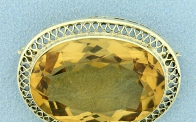 Vintage 35ct Citrine Pin in 14K Yellow Gold