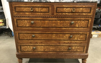 Vintage Wooden Marble Top 5 Drawer Chest