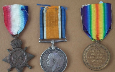 WWI Trio, British War Medal 1914-1918, Victory Medal and 1914-15 Star