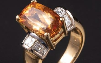 Yellow and White Gold, Topaz and Diamond Ring