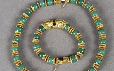 ZOLOTAS - Set consisting of a necklace and a bracelet decorated with a two lions heads motif in the centre. The neckband and wristband are made up of aventurine balls, rings and yellow gold cups decorated with filigree gadroons.
