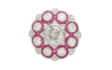 a platinum, ruby and diamond ballerina ring