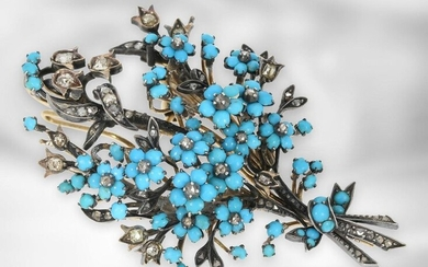brooch/pin: very nice antique turquoise brooch with diamond setting, 14K gold and silver, mid 19th century