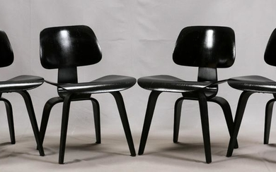 HERMAN MILLER, EAMES DCW, WOOD DINING CHAIRS