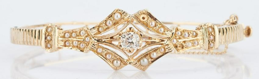 14K Victorian Diamond & Pearl Bangle Bracelet