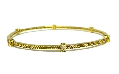 18K YG Judith Ripka Diamond Linen Bangle Bracelet