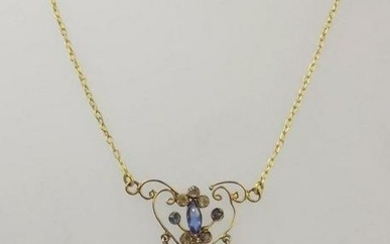 18ct Yellow Gold & Glass Pendant Necklace