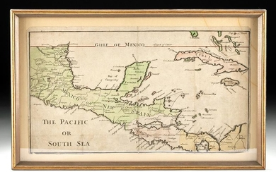 18th C. Engraved / Colored Map of Central America