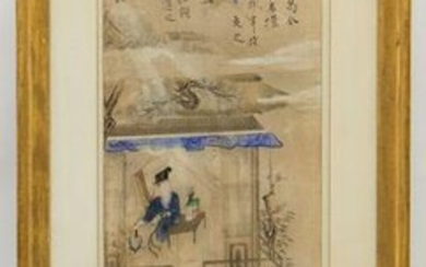 19th C. Chinese Ink & Color Scroll Painting