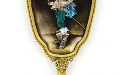 19th C. French Enamel & Bronze Mirror Signed