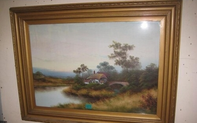 """19th Century School """"Cottage by the Bridge"""" OIL in a gilt Fr..."""