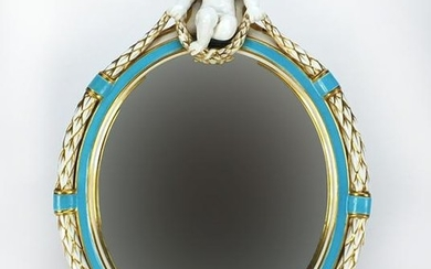 19th century Coalport oval porcelain mirror, with a