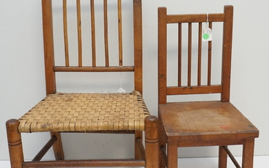 2 ANTIQUE CHILDS + DOLL CHAIR