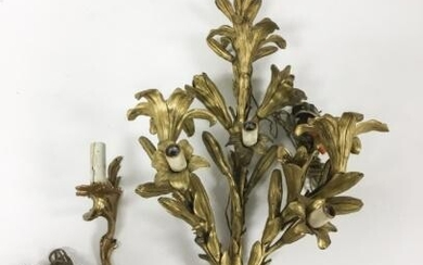 2 Electrified French Gilt Bronze Sconces