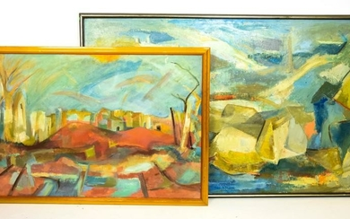 2 Margaret Liang Mid C Abstract Oil Paintings