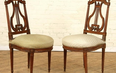 PAIR LATE 19TH C. FRENCH EMPIRE SIDE CHAIRS