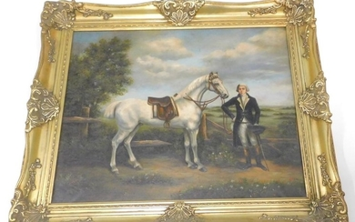 21stC School. 18thC style gentleman with white horse, within...