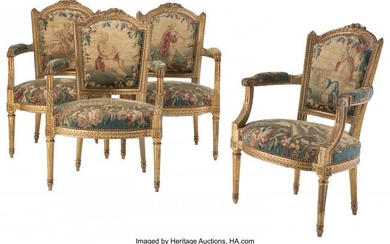 61076: Four Louis XVI-Style Carved Giltwood and Upholst