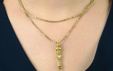 A 19th century 18ct gold fancy-link chain, with slider and glove terminal.