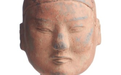 A CHINESE PAINTED GREY-POTTERY WARRIOR HEAD HAN DYNASTY (206BC - 220AD)