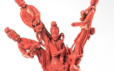A CHINESE RED CORAL SCULPTURE WITH ORMOLU BASE, 19TH CENTURY