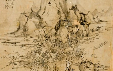 A CHINESE SILK PAINTING OF A LANDSCAPE WITH