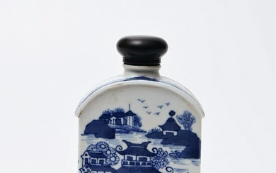 A Chinese Blue and White Landscape Porcelain Wine Pot