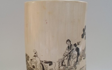A Chinese Etched Ivory Brush Pot, marked on bottom.