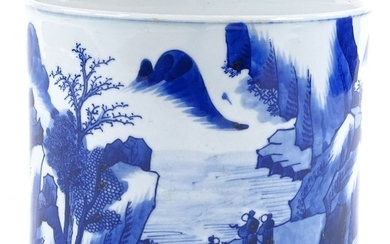A Chinese blue and white porcelain brush pot with painted la...