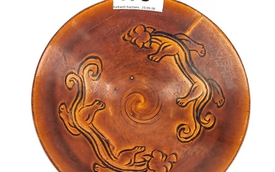 A Chinese brown glazed incised Yuan dynasty style pottery bowl, Dia. 16.5cm.