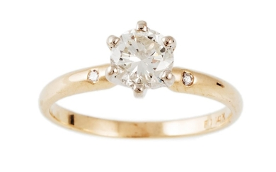 A DIAMOND SOLITAIRE RING, of approx. 0.65ct, I-J, SI, mounte...