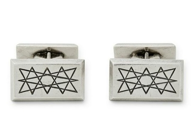 A. Dragsted - a pair of silver cufflinks.