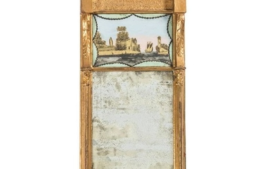 A Federal Giltwood Reverse-Painted Mirror