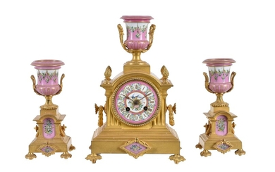 A French Sevres style porcelain and gilt metal mounted clock garniture