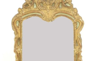 A French green painted and gilt wall mirror