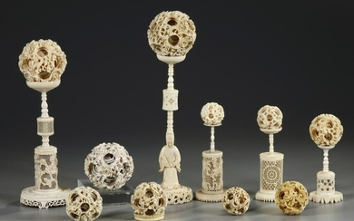 A GROUP OF CANTONESE CARVED PUZZLE BALLS AND STANDS