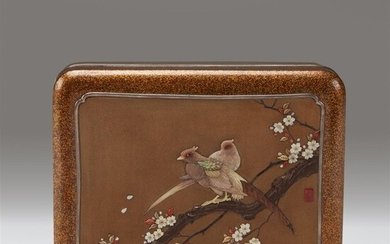 A Japanese mother of pearl-inlaid rectangular lacquer box and...