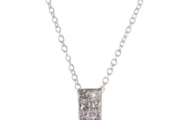 A KUNZITE AND DIAMOND PENDANT IN 18CT WHITE GOLD, FEATURING A CUSHION CUT KUNZITE WEIGHING 53.20CTS, ON A FIXED DIAMOND SET BALE TOT...
