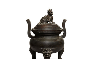 A LARGE BRONZE TRIPOD INCENSE BURNER AND COVER