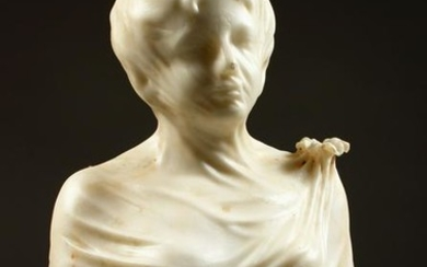 "A LARGE CARVED MARBLE BUST, ""The Veiled Bride"", 20th"