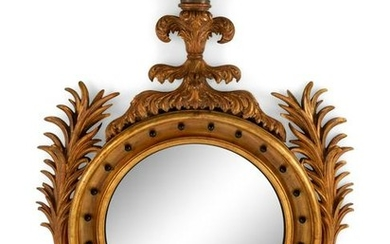A Large Regency Style Giltwood Convex Mirror