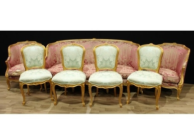 A Louis XV style giltwood seven piece drawing room suite, co...