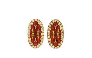 A PAIR OF ENAMEL AND DIAMOND EARRINGS, the oval enamelled pa...