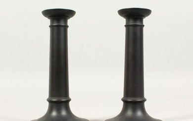 A PAIR OF PLAIN WEDGWOOD BLACK BASALT CIRCULAR