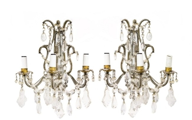 A Pair of Gilt Metal and Cut-Glass Three-Light Wall Sconces