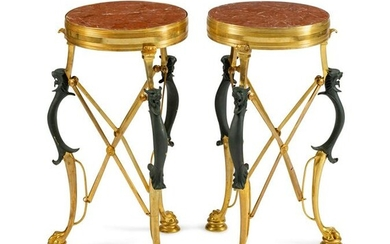 A Pair of Neoclassical Style Parcel-Gilt and Patinated