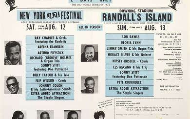A Ray Charles And Aretha Franklin World Series Of Jazz Concert Handbill