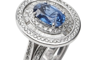 A SAPPHIRE AND DIAMOND RING SUITE BY HARDY BROS