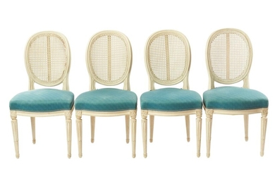 A SET OF EIGHT LOUIS XVI STYLE RATTAN BACK DINING CHAIRS CIRCA 1940