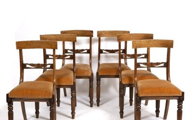 A SET OF SIX REGENCY STYLE BAR BACK DINING...
